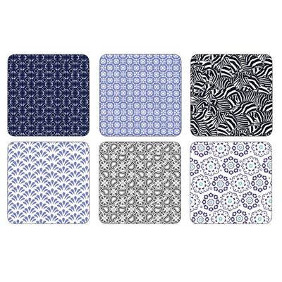 Portmerion Ted Baker Langdon Blue Coasters 10.5 by 10.5cm (Set of 6)