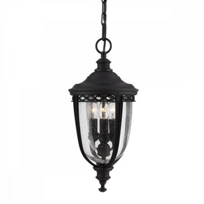 Black 3lt Medium Chain Lantern - 3 x 60W E14