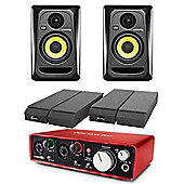 KRK RP4 G3 Focusrite 2i2 Generation 2 USB Audio Interface & Powered Studio Monitor Package Includes JB's Cables And Mopad Isolation Pads