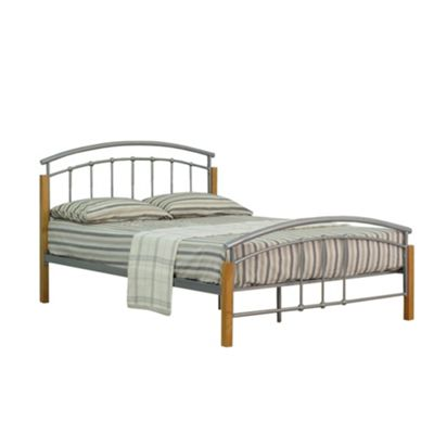 Comfy Living 4ft6 Double Metal and Wood Headboard Detail Bed Frame in Silver with 1000 Pocket Damask Mattress