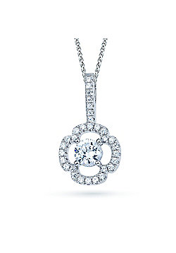 REAL Effect Rhodium Plated Sterling Silver White CZ Mini Cross with Solitaire Centre Charm Pendant - 16/18 inch