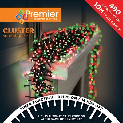 Premier 480 Multi Action Cluster LED Lights with Timer - Red & Green