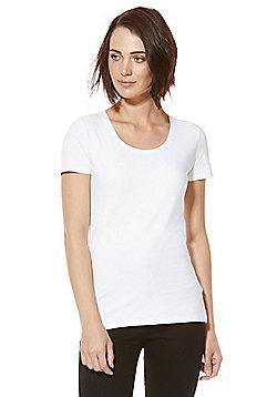 F&F Scoop Neck T-Shirt - White