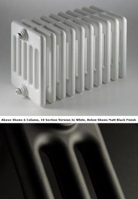 DQ Heating Peta 3 Column Designer Radiator - 742mm High x 360mm Wide - 8 Sections - Matt Black