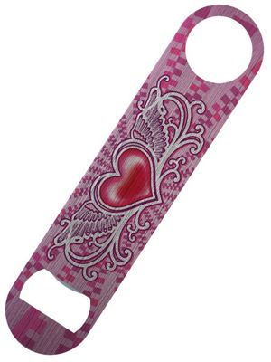 Winged Heart Bar Blade Bottle Opener 18x4cm