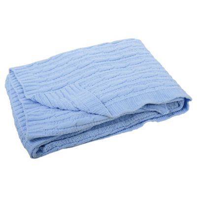 East Coast Silvercloud Blue Cable Blanket