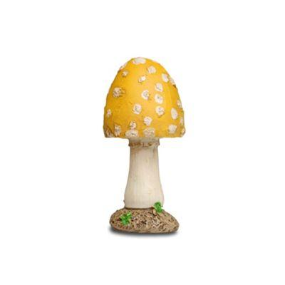 Short Yellow Pointed Head Resin Mushroom Toadstool Garden Ornament