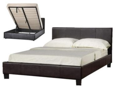 Comfy Living 4ft6 Double Gas Lift Storage Faux Leather Bed Frame in Black with Damask Memory Mattress