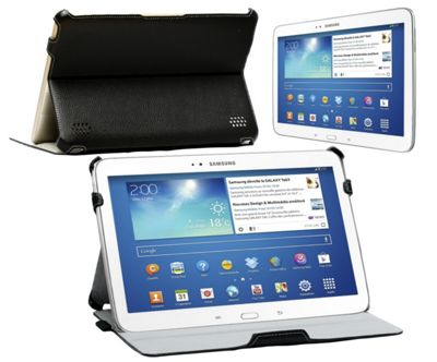 Navitech Black Multi Stand Hard Faux Leather Case For The Samsung Galaxy Tab 3 10.1 P5200