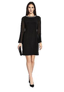 Wallis Embellished Collar Bell Sleeve Dress - Black