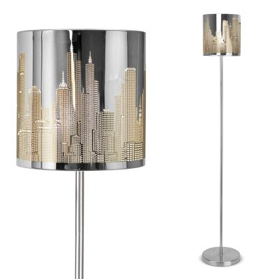 New York Skyline Floor Lamp, Chrome
