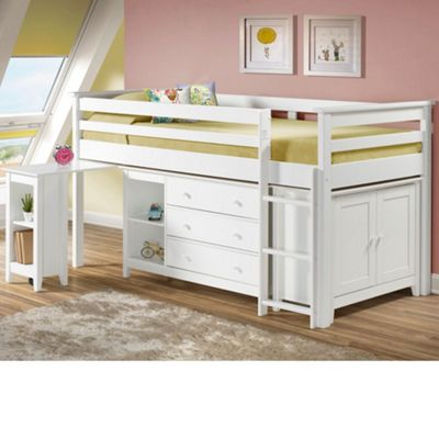 Happy Beds Cotswold Wood Kids Midsleeper Cabin Desk Storage Bed with Open Coil Spring Mattress - Ivory - 3ft Single
