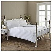 Sateen Stripe Single Duvet Set - White