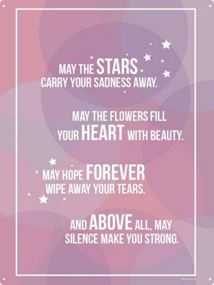 May The Stars Carry Your Sadness Away Tin Sign 30.5 x 40.7cm