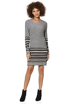 Only Striped Border Knitted Jumper Dress - Black