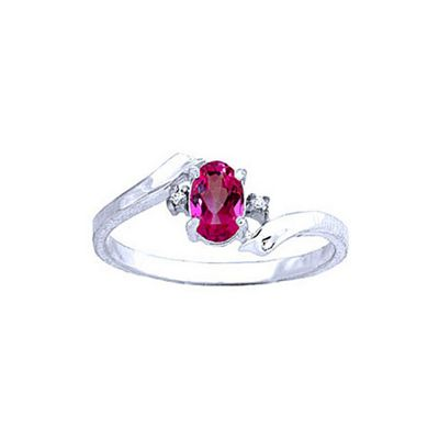 QP Jewellers Diamond & Pink Topaz Embrace Ring in 14K White Gold - Size R