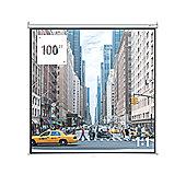 "Homegear 100"" 1:1 Foldable Tripod Projector Screen Manual Pull Down Matt White"