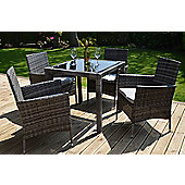 Bilbao Square Rattan Garden Dining Set & 4 Chairs Grey