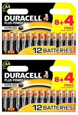 Duracell 24 AA Plus Power Duralock 1.5V Alkaline Batteries