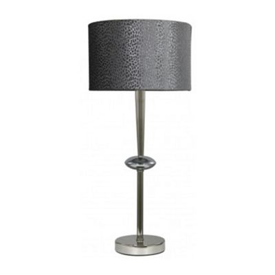 Cast Chrome Sphere Table Lamp With Grey Faux Snakeskin Shade