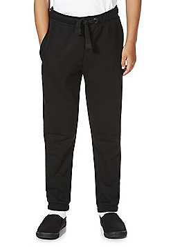 F&F School Unisex Ribbed Waist Joggers with As New Technology - Black