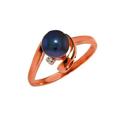 QP Jewellers Diamond & Black Pearl Twist Ring in 14K Rose Gold - Size E