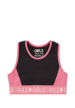 F&F Active Girls Rule Slogan Crop Top - Black & Pink