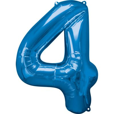 Blue Number 4 Balloon - 34 inch Foil