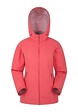 Mountain Warehouse Womens Waterproof 2.5 Layer Jacket Breathable with Adjustable - Coral