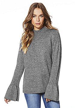 F&F Sparkle Knit Bell Sleeve Jumper - Grey