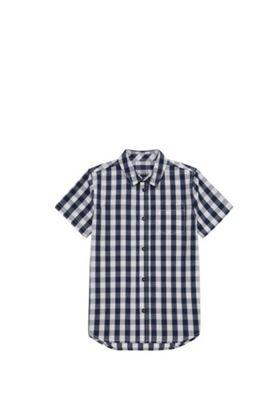 F&F Gingham Short Sleeve Shirt Navy/White 5-6 years