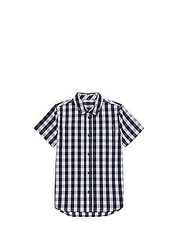 F&F Gingham Short Sleeve Shirt - Navy/White