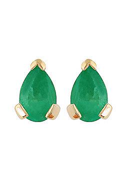 Gemondo 9ct Yellow Gold 0.75ct Emerald Single Stone Classic Pear Stud Earrings