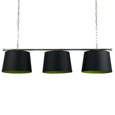 Modern Suspended 3 Way Ceiling Light & Black/Green TapeReds