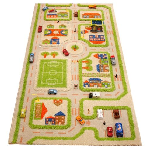 Little Helper 3D Playmat & Rug Town Design Green 80X150Cm