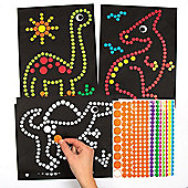 Dinosaur Dotty Sticker Art Sheets for Children to Make and Display - Creative Picture Making Craft Set for Kids (Pack of 8)