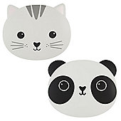 Children's Set of 2 Placemats - Cat & Panda, Children's Placemats, Kids Dinner Placemats