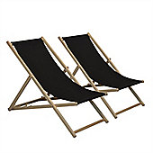 Traditional Adjustable Garden / Beach-style Deck Chair - Black - Pack of 2