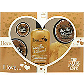 I Love... The Little Box of Love Vanilla and Almond Gift Set 250ml Bath & Shower Cremé + 50ml Body Butter + 50ml Sugar Scrub + 15ml Lip Balm