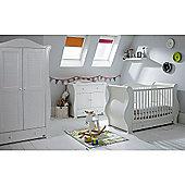 Tutti Bambini Marie 3 Piece + Sprung Mattress Nursery Room Set - White