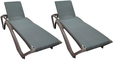 Resol Marina Sun Lounger - Chocolate Brown Frame with Brown Canvas - x2 Loungers