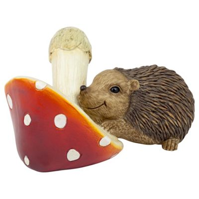 Hedgehog with a Mushroom Animal Garden Ornament