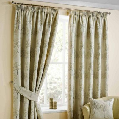 Homescapes Natural Jacquard Curtain Pair Embroidered Trees 46x72