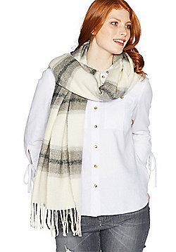 F&F Windowpane Check Tassel Scarf - Grey & Cream