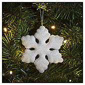 White Flocked Snowflake Christmas Tree Decoration