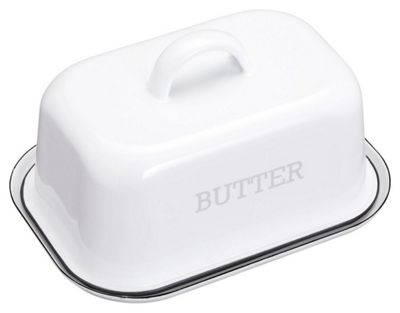 KitchenCraft Living Nostalgia Vintage Style Enamel Butter Dish with Lid