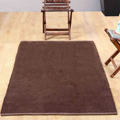 Homescapes Chenille Plain Cotton Medium Size Rug Brown, 60 x 100 cm