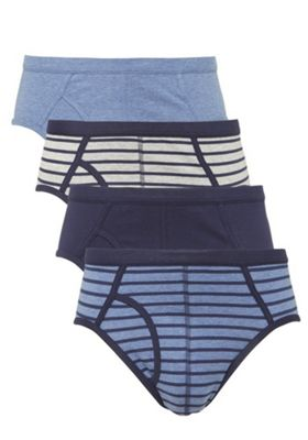 F&F 4 Pack of Striped and Plain Briefs L Blue