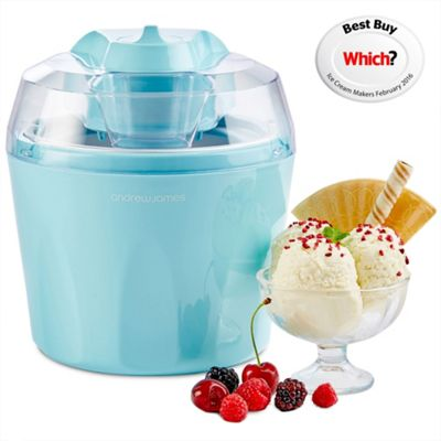 Andrew James Automatic Ice Cream Maker - Fast Freeze Removable 1.5L Bowl - Blue