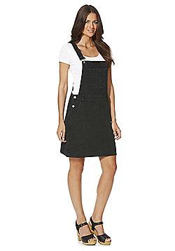 F&F Denim Dungaree Dress - Black